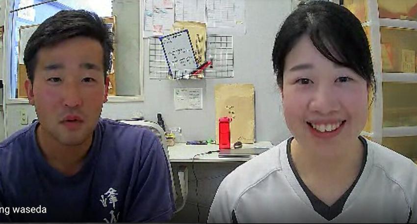 早稲田大学漕艇部船木主将(左)、国府田主務(右)